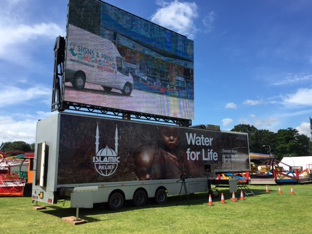 Islamic Trailer with big screen for an big event named Water for Life