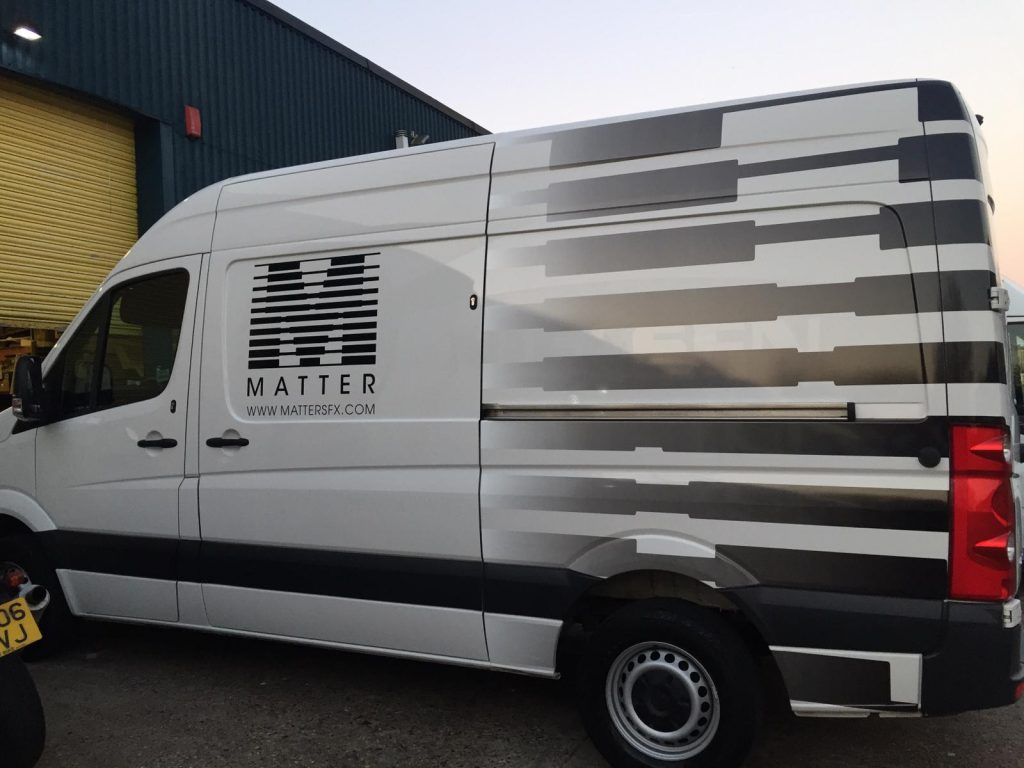 Matter company wrapped with white and black printing lines