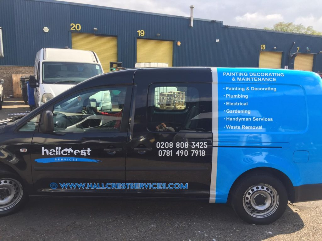 hallcrest painting company with half wrapping van