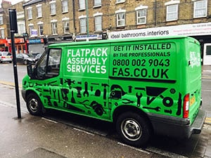 Flatpack Design - Full Wrapping Vans using green and black vinyl completed in In London