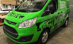 Green Van with black tools design - Full Van Wrapping